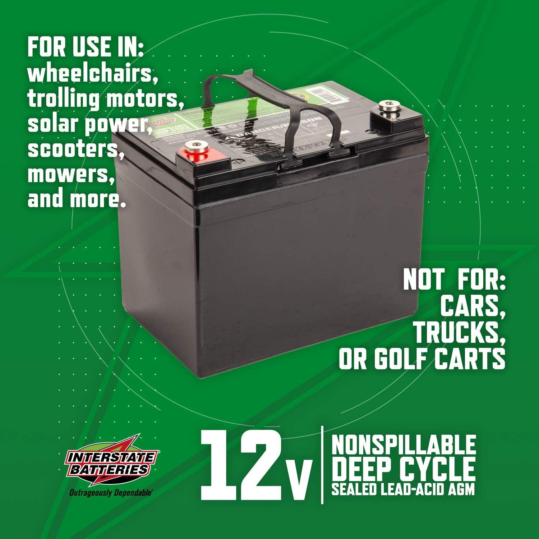 Amazon Com Interstate Batteries 12v 35ah Sealed Lead Acid Sla Agm Deep Cycle Battery Dcm0035 Insert Terminals Automotive