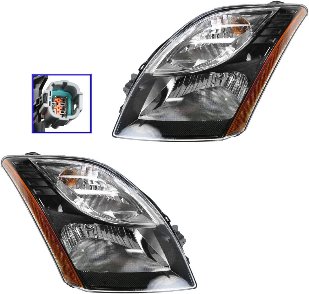 Headlights Headlamps Pair Left right for 04-06 Nissan Sentra Base And S Models