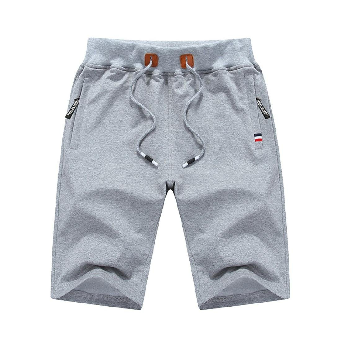 Realdo Men's Solid Shorts, Fashion Casual Zipper Pockets and Slim-Fit Style Pants(Grey,Medium)