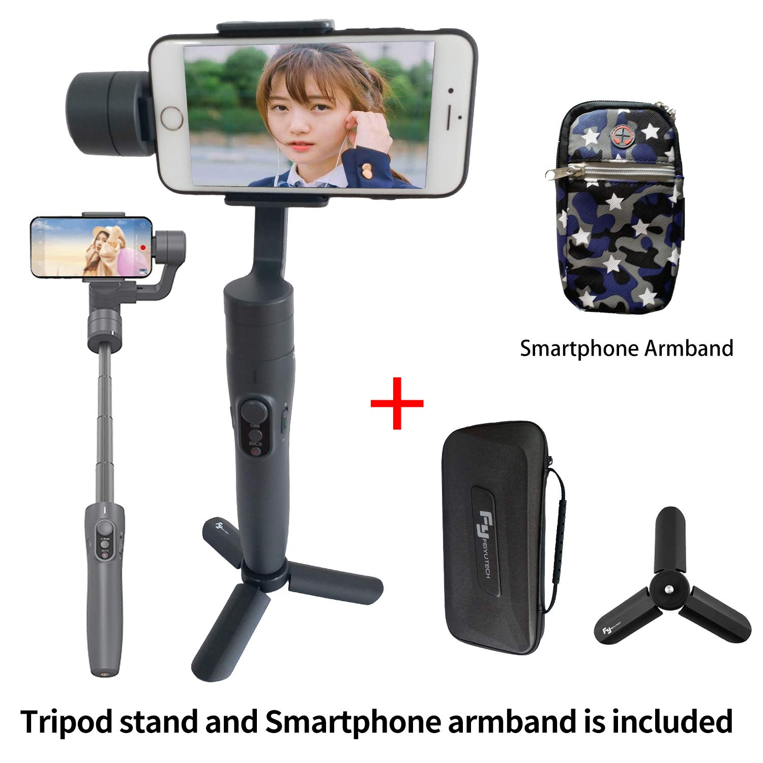 Feiyu Tech Vimble 2 Extendable Handheld 3-Axis Gimbal Stabilizer for Smartphone i+(Tripod Stand and Smartphone armbrand) FeiyuTech