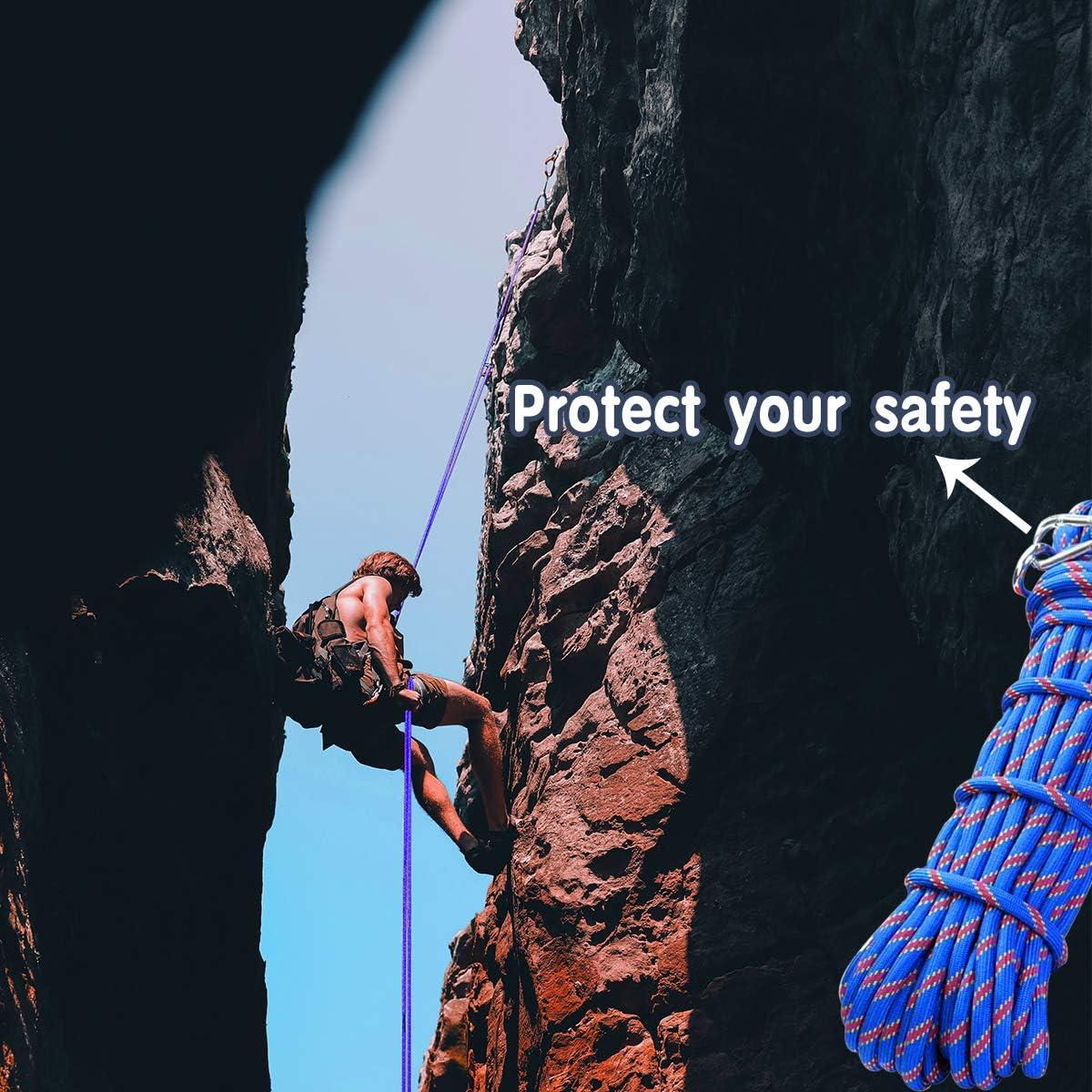 jiele Cuerda de escalada, auxiliar, espeleología, eslinga, equipo de cuerda multiusos resistente, diámetro de 10 mm, cuerda duradera