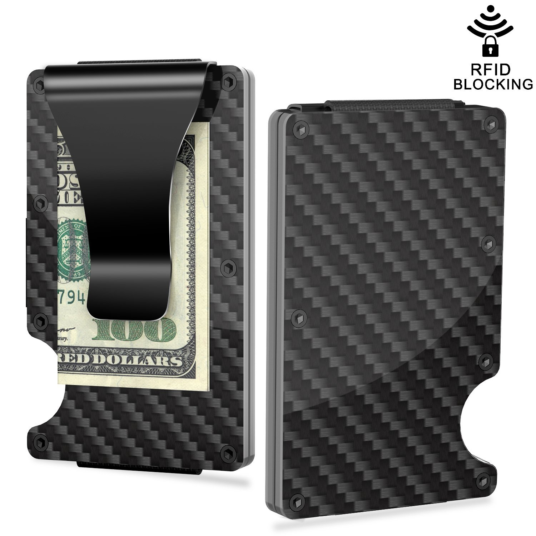 Slim Wallet Money Clip, Minimalist Carbon Fiber RFID Blocking Credit Card Holder Front Pocket Wallet Business Bank Card Holder for Men and Women