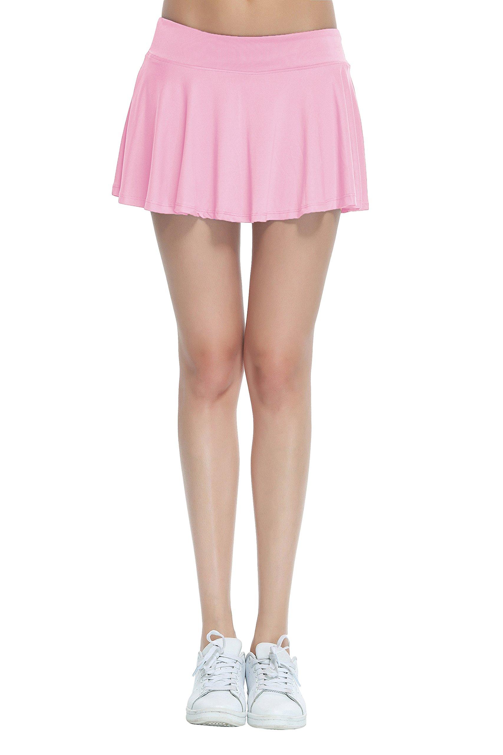 Honour Fashion Women's Gym Athleta Stretchy Skorts Underwear Covered (Light Pink, Small)