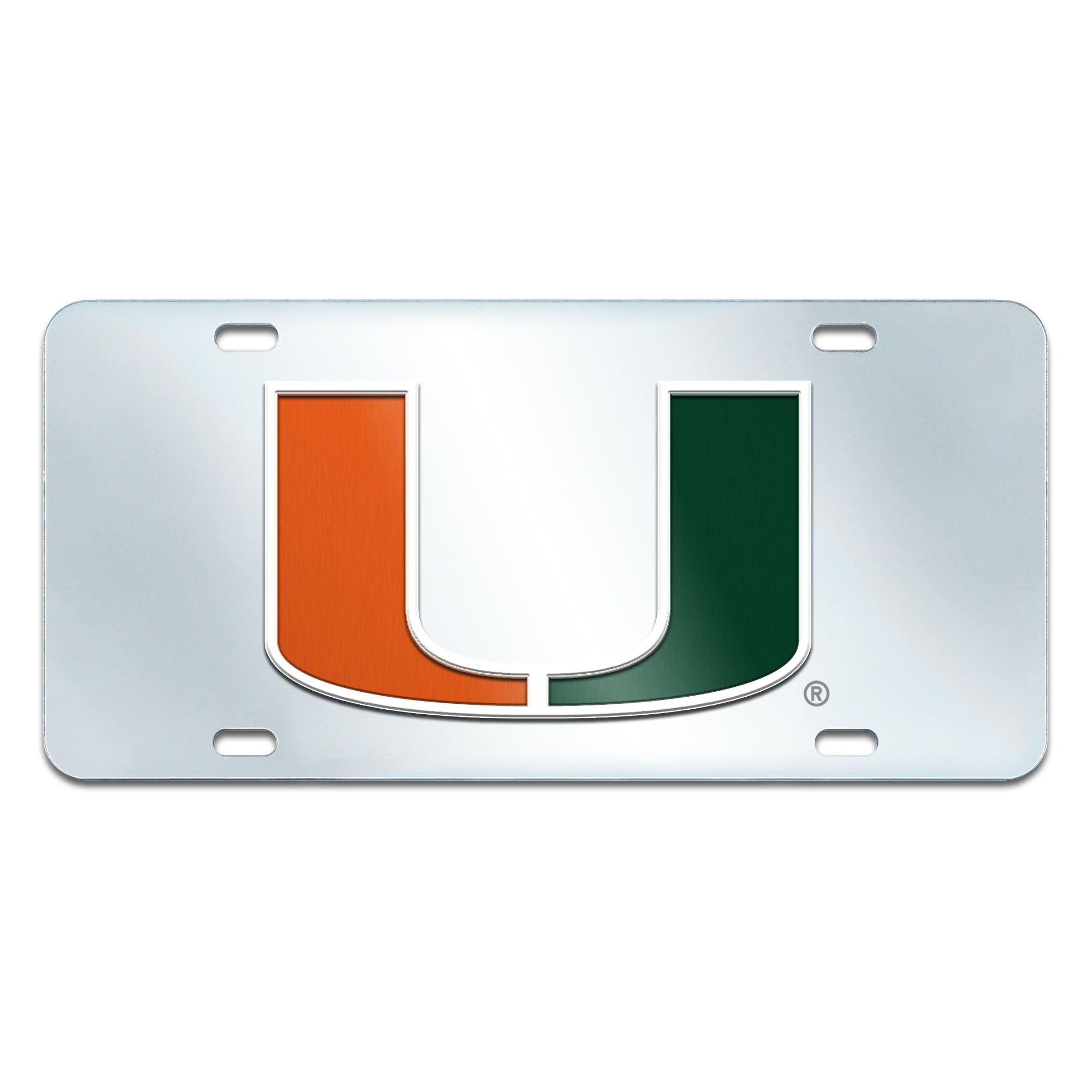 Fanmats NCAA University of Miami Hurricanes Plastic License Plate (Inlaid)