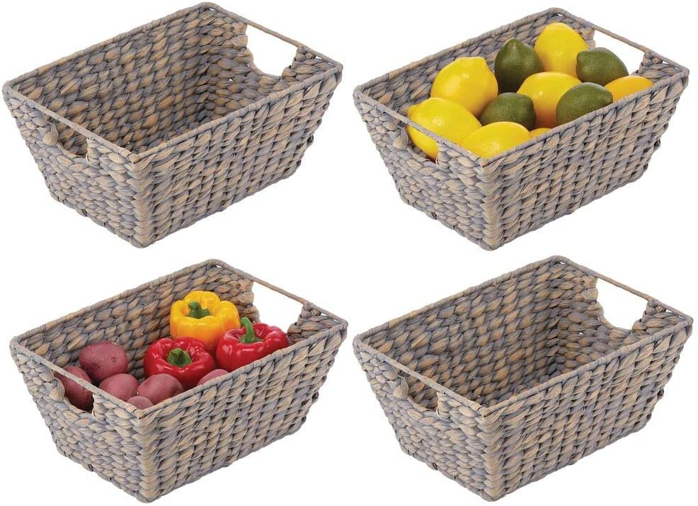 mDesign Natural Woven Hyacinth Stackable Farmhouse Kitchen Pantry Food Storage Organizer Basket Bin - for Cabinets, Cupboards, Shelves, Countertops - Holds Potatoes, Onions, Fruit, 4 Pack - Gray
