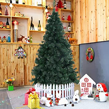 goplus artificial christmas tree xmas pine tree with solid metal legs perfect for indoor and outdoor
