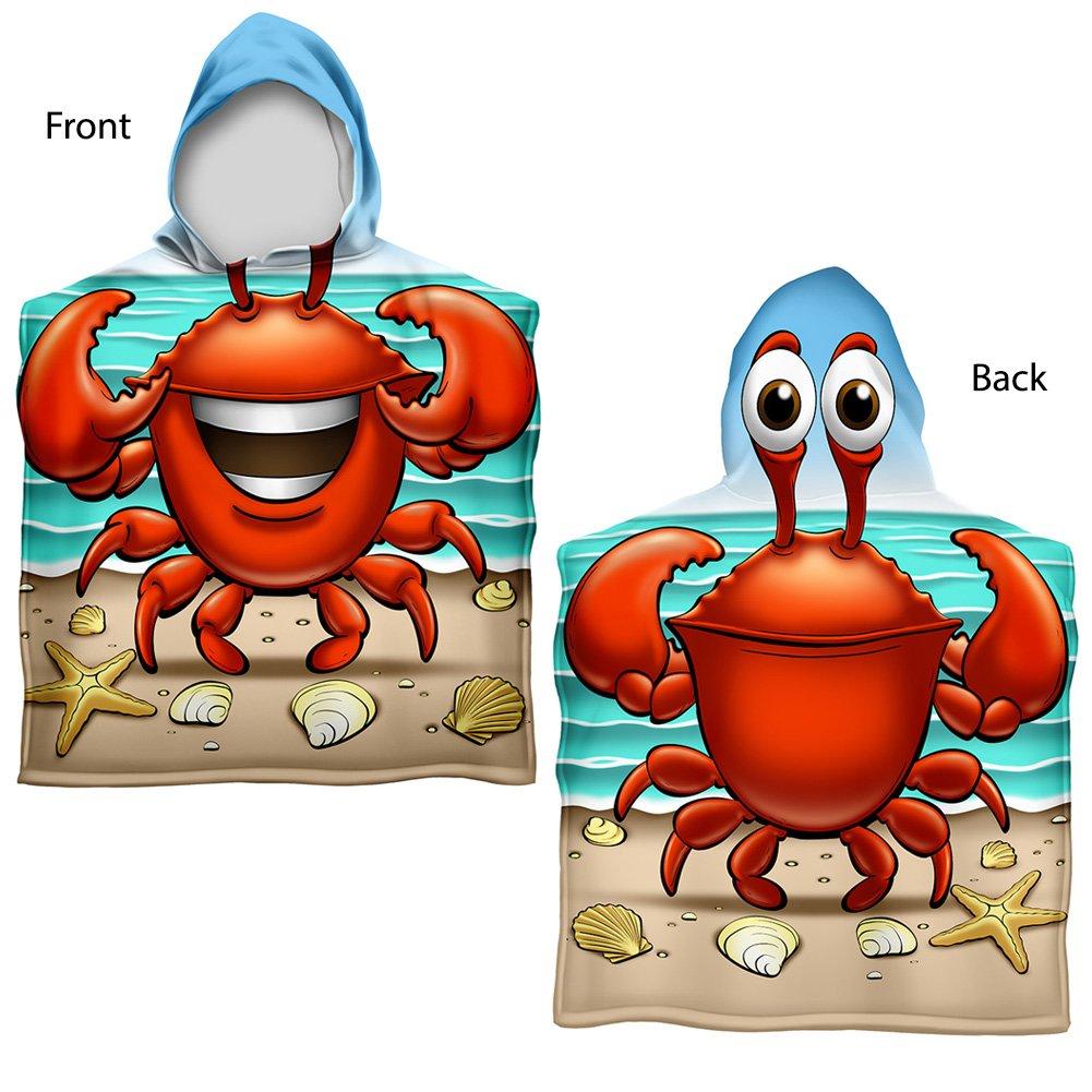 Kids Crabbie Cotton Hooded Poncho Bath/Beach Towel