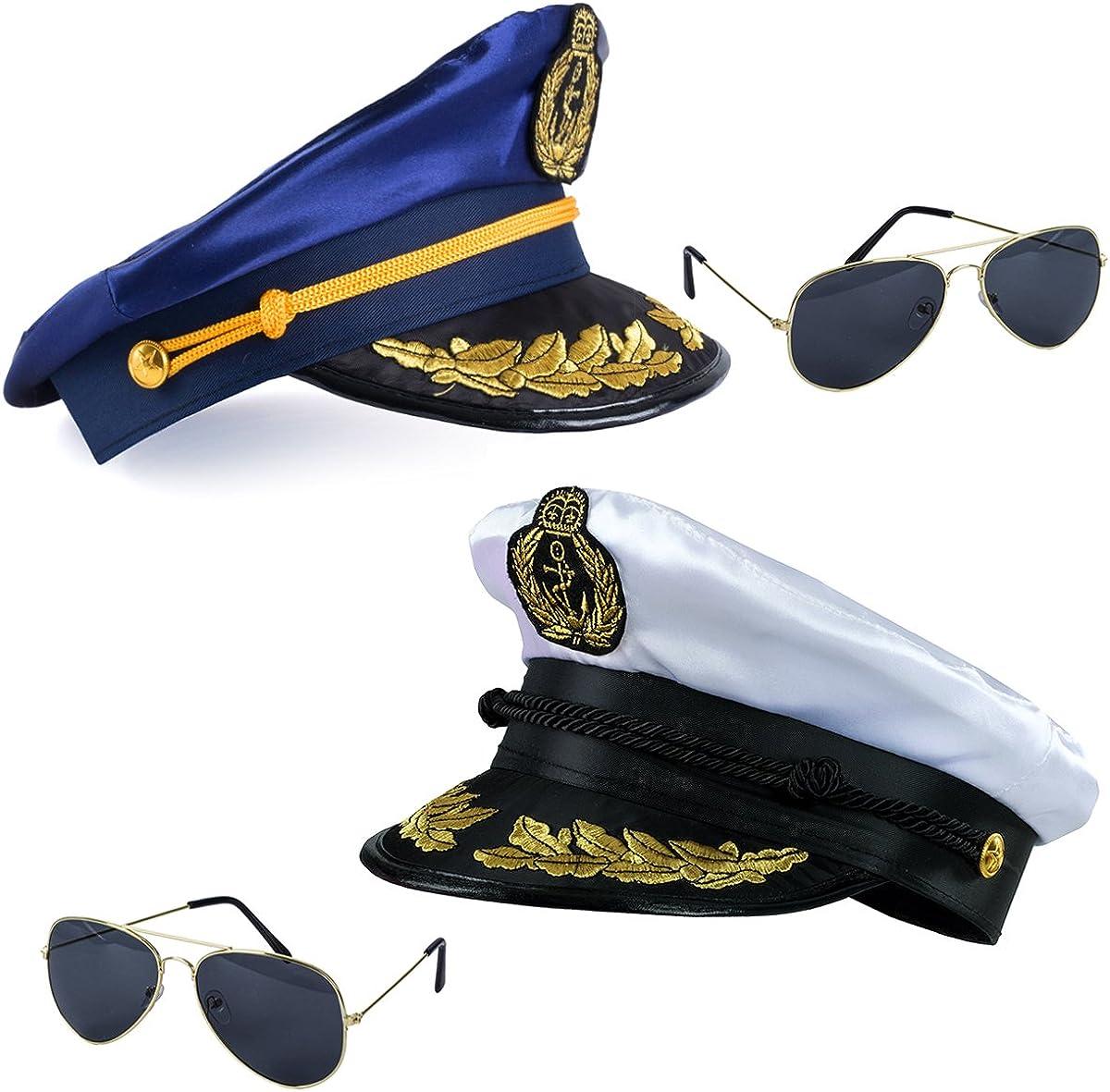Tigerdoe Yacht Captain Hats - Marine Sailor Caps - Skipper Party - Nautical Costume Accessories