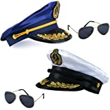 641ef60d50e3b Tigerdoe one blue sailor captain hat and one white yacht hat