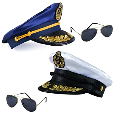 Amazon.com  Tigerdoe one blue sailor captain hat and one white yacht ... b10a5e33c3