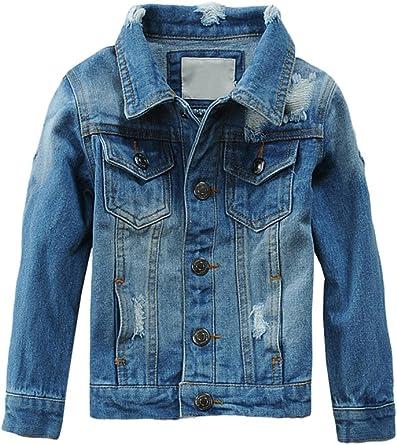 Mallimoda Kids Boys Girls Hooded Denim Jacket Zipper Coat Outerwear
