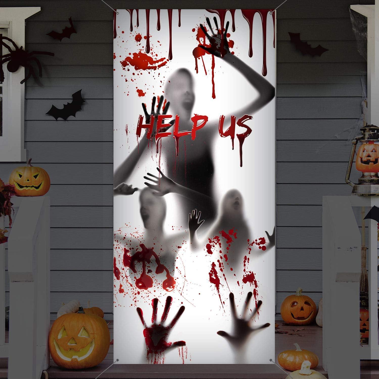 HALLOWEEN HORROR BLOODY BEWARE DOOR COVER PARTY DECORATION POSTER HANDPRINTS