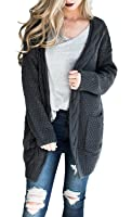 Annystore Women's Long Sleeve Casual Loose Fit Open Front Knit Cardigan Sweater Outerwear With Pockets