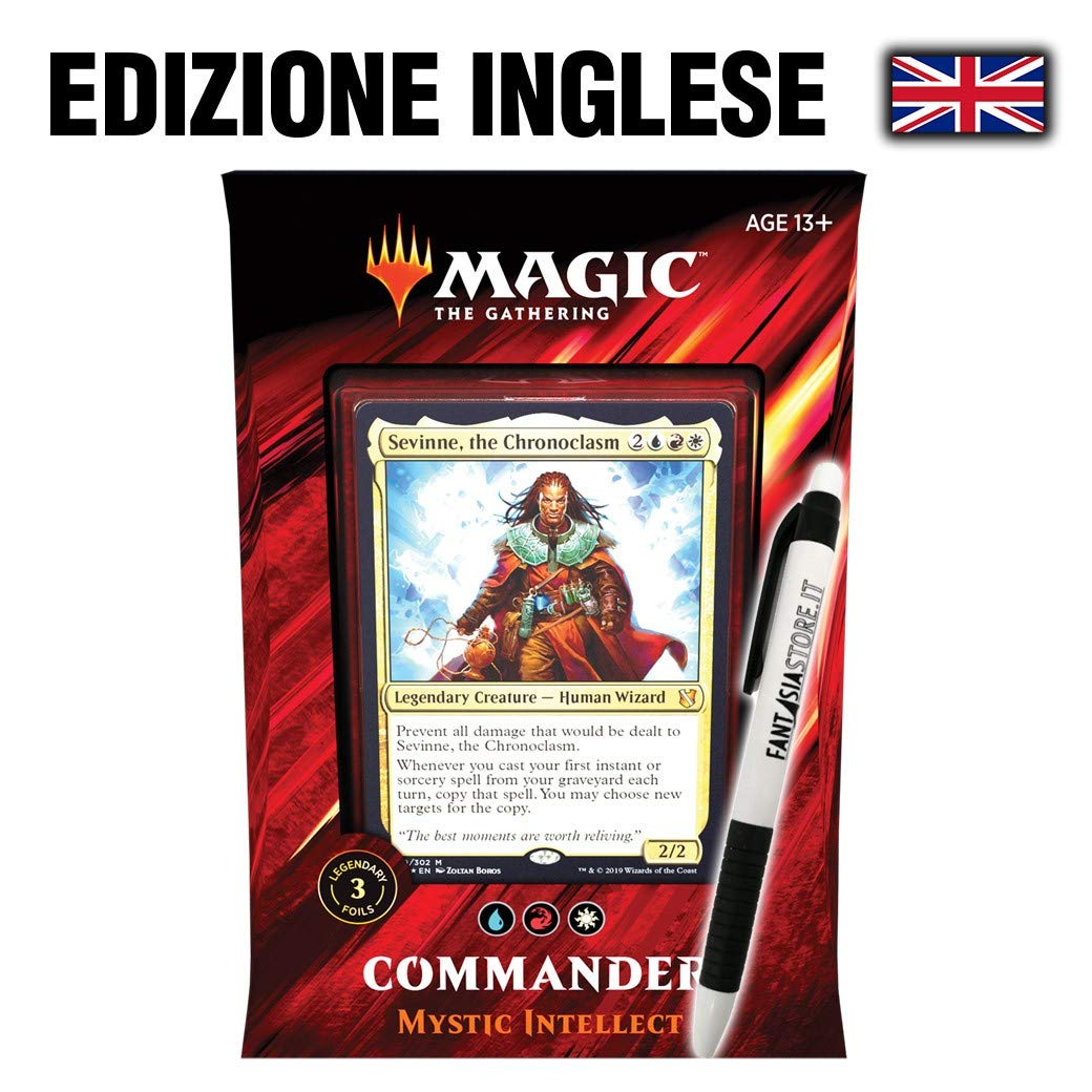 MTG Commander 2019 Magic The Gathering Mystic Intellect + Fant/àsia Pen! ENG