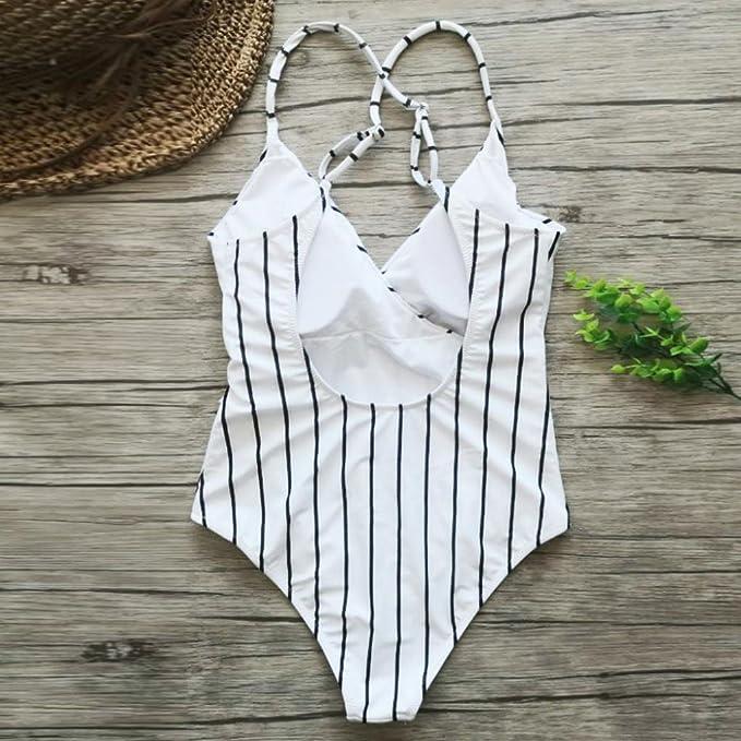 2baf196e4b24f Amazon.com: Fashion Quiet Elegance Stripe One-Piece Swimsuit Beach Swimwear  Bathing Suit: Clothing