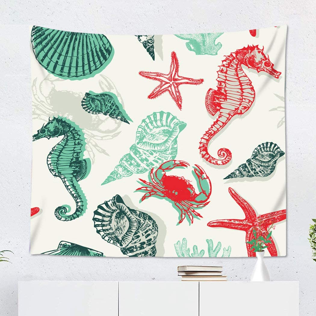 Suklly Tapestry Wall Hanging Polyester Seashell with Marine Life Seahorse Sea Starfish Ocean Line Shell Sketchy Home Decor Living Room Bedroom Dorm 50 x 60 inches Picnic Mat Beach Towel
