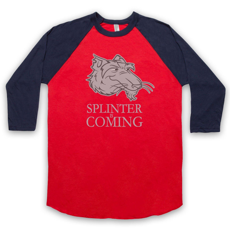 Inspired by Splinter Is Coming Teenage Mutant Ninja Turtles Parody Unofficial 3/4 Sleeve Retro Baseball Tee