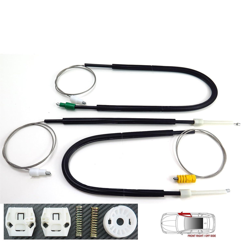 Kit de réparation pour lève-vitre électrique avant côté droit, côté droit, côté conducteur Royaume-Uni, câbles de régulateur de vitre, pinces, rouleau, poulie