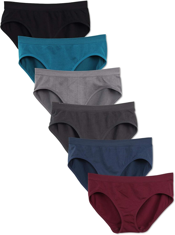 Kalon 6 Pack Women's Hipster Brief Nylon Spandex Underwear: Clothing