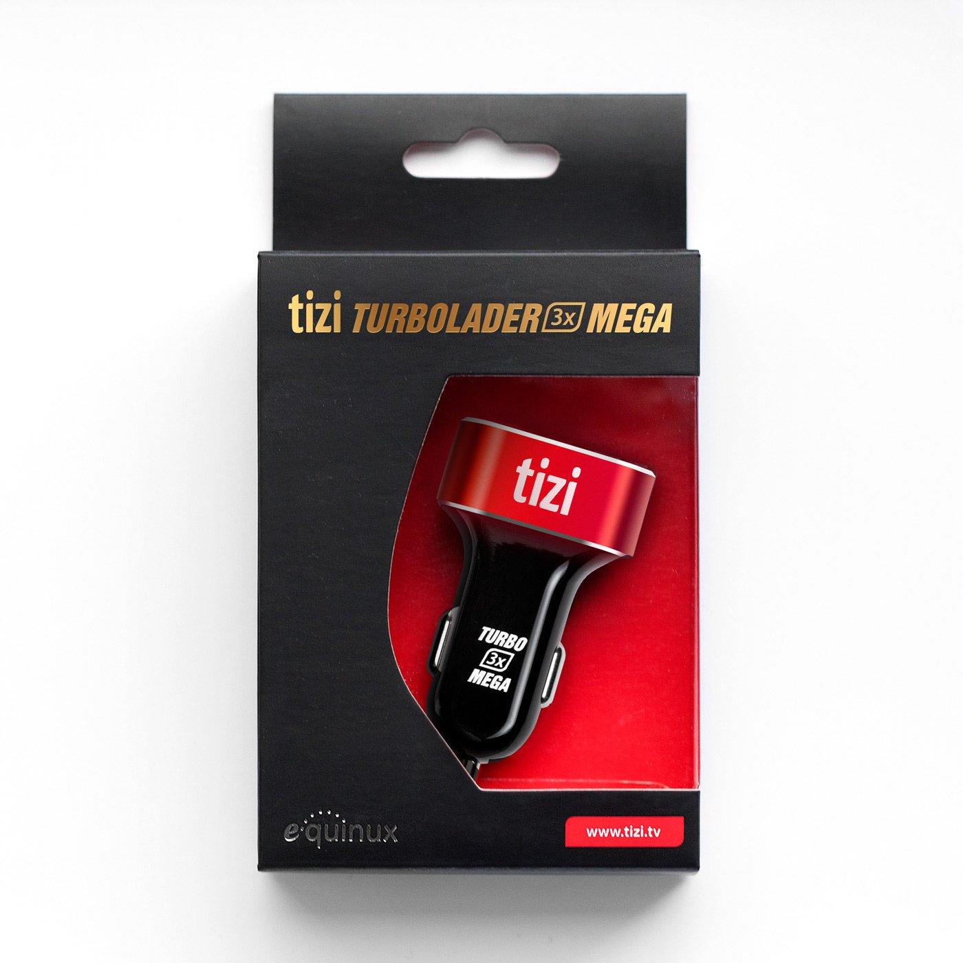 equinux tizi Turbolader 3x MEGA - Cargador de coche con 3 puertos USB y tecnología Auto Max Power para el coche, tres puertos USB de elevada potenica ...