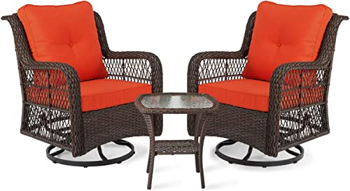 Aclumsy 3-Piece Rocking Rattan Chair Outdoor
