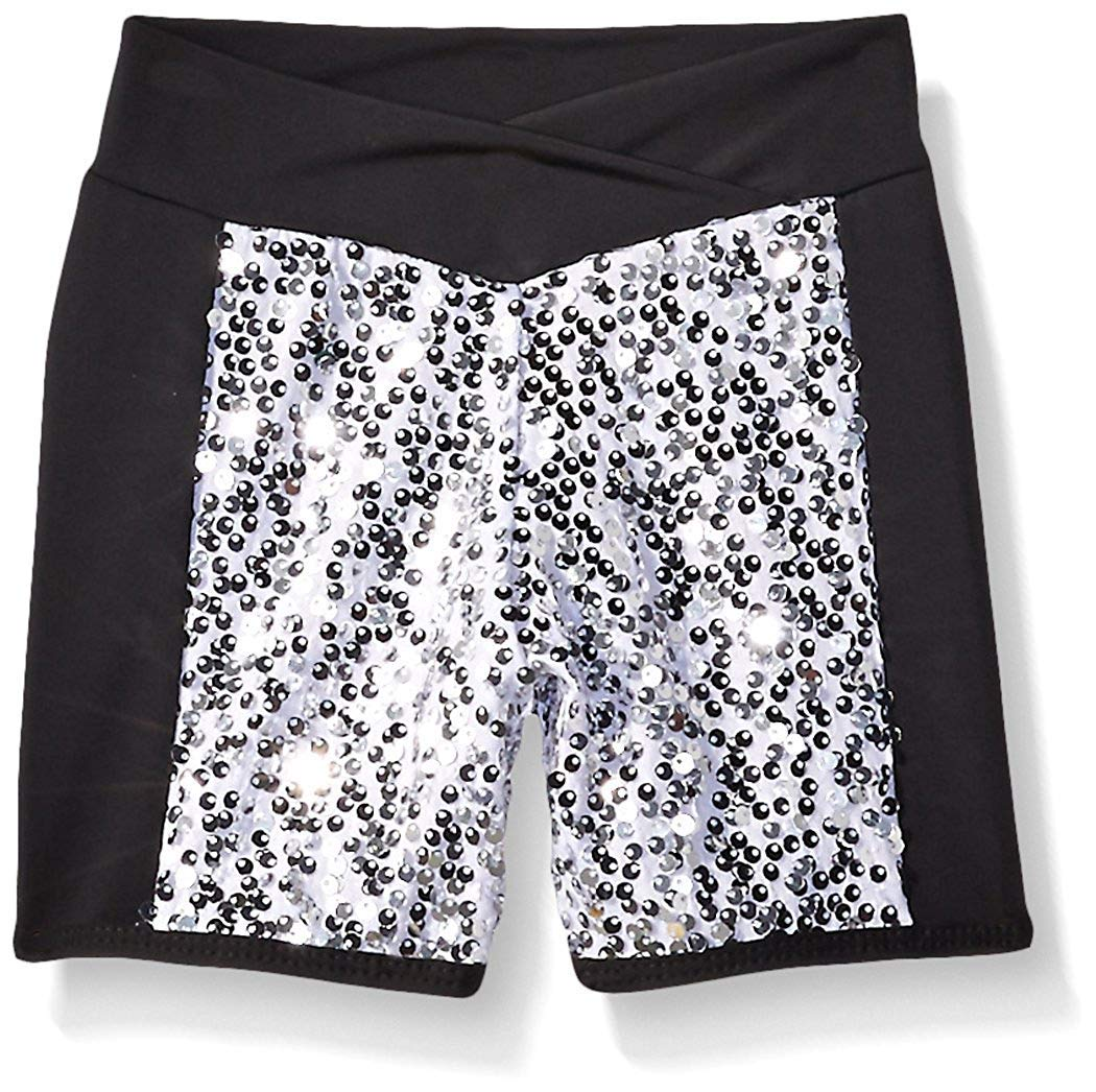 Gia Mia Dance Girls' Big Sequin Blockshort, Silver, Medium by Gia Mia