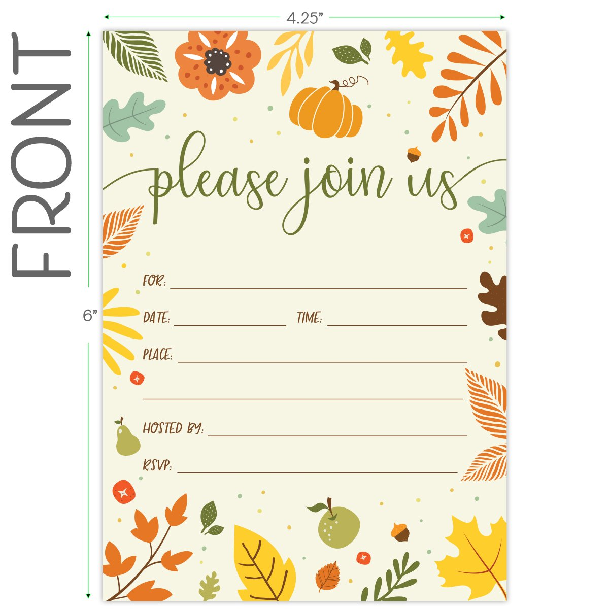 Koko Paper Co Fall Invitations in Autumn Colors with Pumpkin, Fruits and Florals. 25 Fill In Style Cards and Envelopes for Thanksgiving, Harvest Party, Birthday, Engagement, Bridal and Baby Shower, or by Koko Paper Co (Image #5)