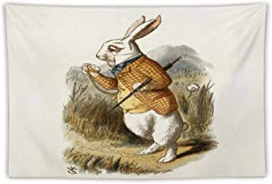 """VinMea Tapestry Wall Hanging White Rabbit from Alice in Wonderland Tapestries for Bedroom Living Room Wall Decor, 59""""x 79"""""""
