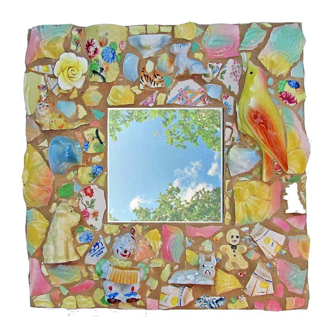 Pique Assiette Mosaic Children's Animal Mirror by Melissa's Motifs Mosaics