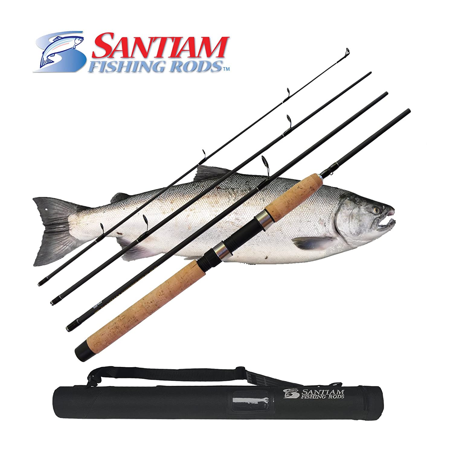 Santiam Fishing Rods Travel Rod 4 Piece 7 6 8-17lb MF Graphite Spinning Rod with Hard Case