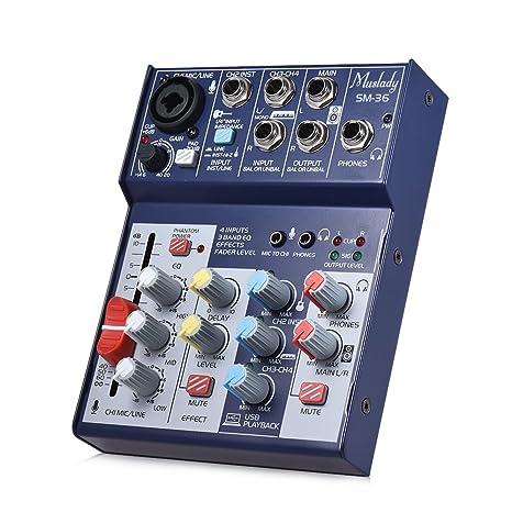 Kalaok SM-36 Tamaño compacto Tarjeta de sonido de 4 canales ...