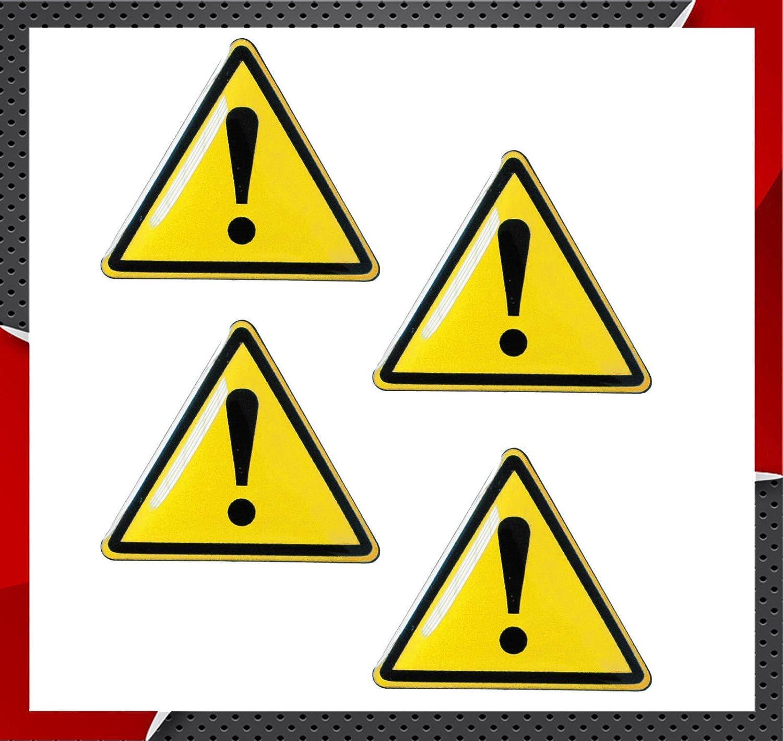 4 x Adesivi Resinati 3D Gel Stickers Warning Segnale di Avvertimento Punto Esclamativo Attenzione per Auto Moto Finestr/ìno Porta Casco Scooter Skateboard Bici PC Laptop Tablet Tuning KS 130