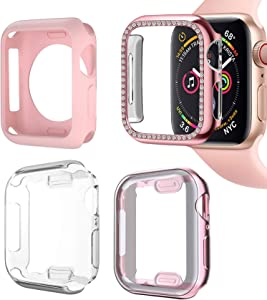 Compatible iWatch Apple Watch Cases 44mm Series 4/5/6 Full Coverage Screen Protector,Defense Edge Bumper with Bling Rhinestone, Electroplated Soft TPU Shockproof ,4 Styles (4 Pack for Women, 44mm)