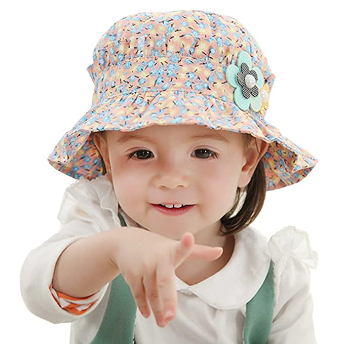 cb5988de Butterme Unisex Toddler Children Kids Hawaiian Floral Print Sun Cap Spring  Summer Cotton Fishing Bucket Hat Beach Sunhats for 1-4 Years Baby  (Pink+Blue): ...