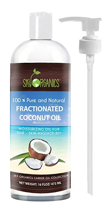 Fractionated Coconut Oil by Sky Organics 16oz- 100% Pure MCT Oil (Cocos Nucifera) with PUMP. Ideal as a Massage Oil & Aromatherapy. Carrier Oil Made in USA. No Staining Tanning Oil