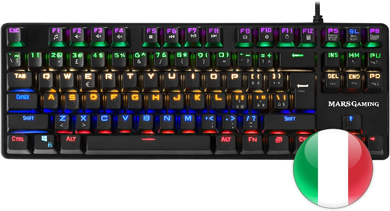 Mars Gaming MK4MINIR, teclado PC, layout ITALIANO, LED 6 colores, switch rojo