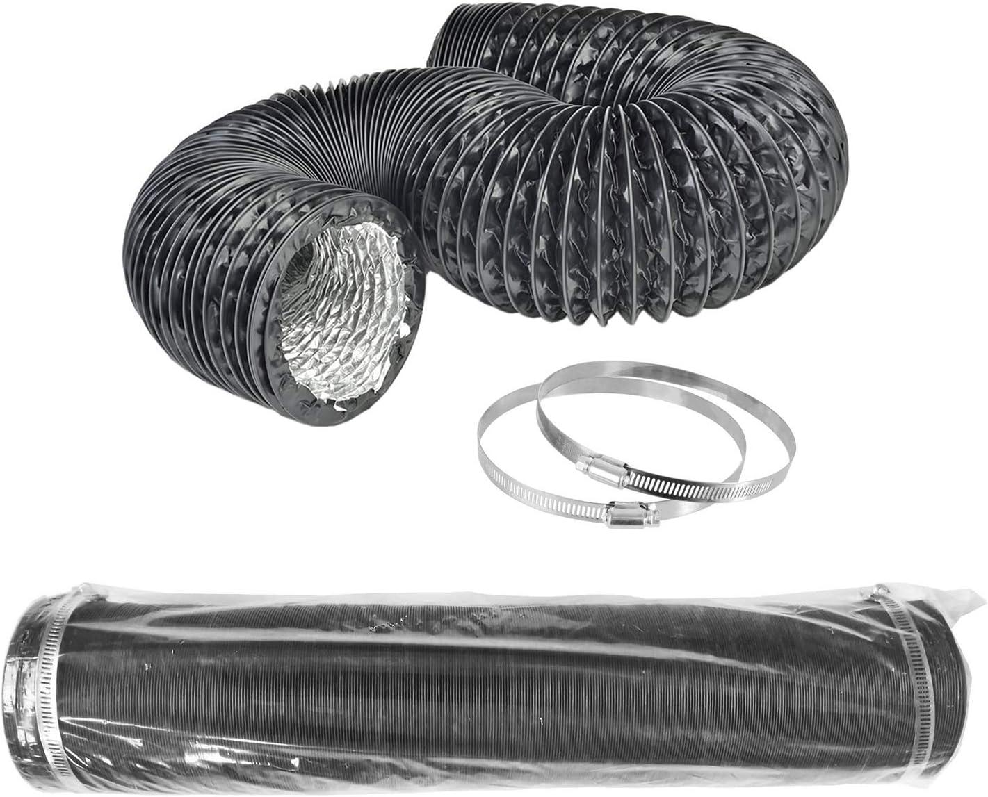LOOTICH Fuerte Tubo Flexible de Aluminio Negro PVC Ø100mm Longitud 8m para Extractor de Aire Climatización Secadora Conducto de Aire de Ventilación Sistemas con 2 Abrazaderas de Acero