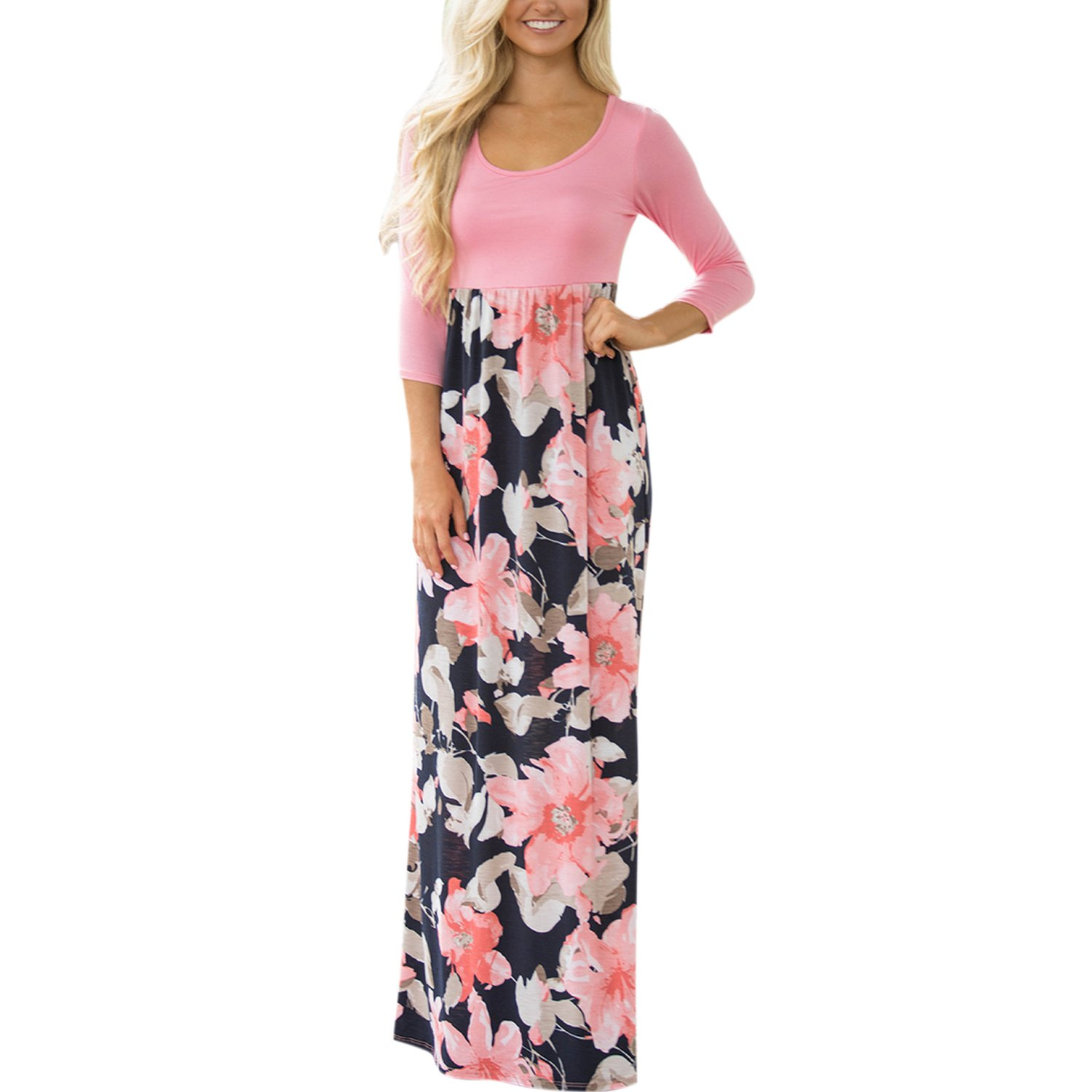 Misscat Women Maxi Dress 3/4 Sleeve Floral Printed Spring Casual Loose One-piece