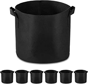 Garden4Ever 6-Pack 10 Gallon Grow Bags Heavy Duty Container Thickened Nonwoven Fabric Plant Pots with Handles(Black)