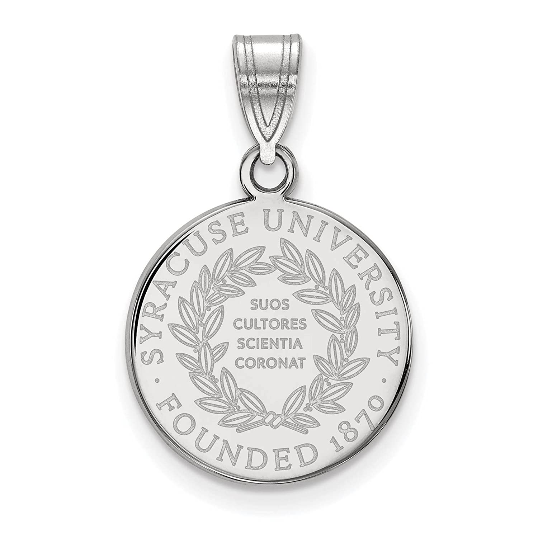 925 Sterling Silver Rhodium-plated Laser-cut Syracuse University Medium Crest Pendant