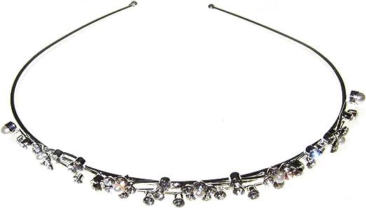 Johnny Loves Rosie diadema de plata con piedras y perlas de la joyería, 1er Pack (1 x 12 piezas): Amazon.es: Belleza