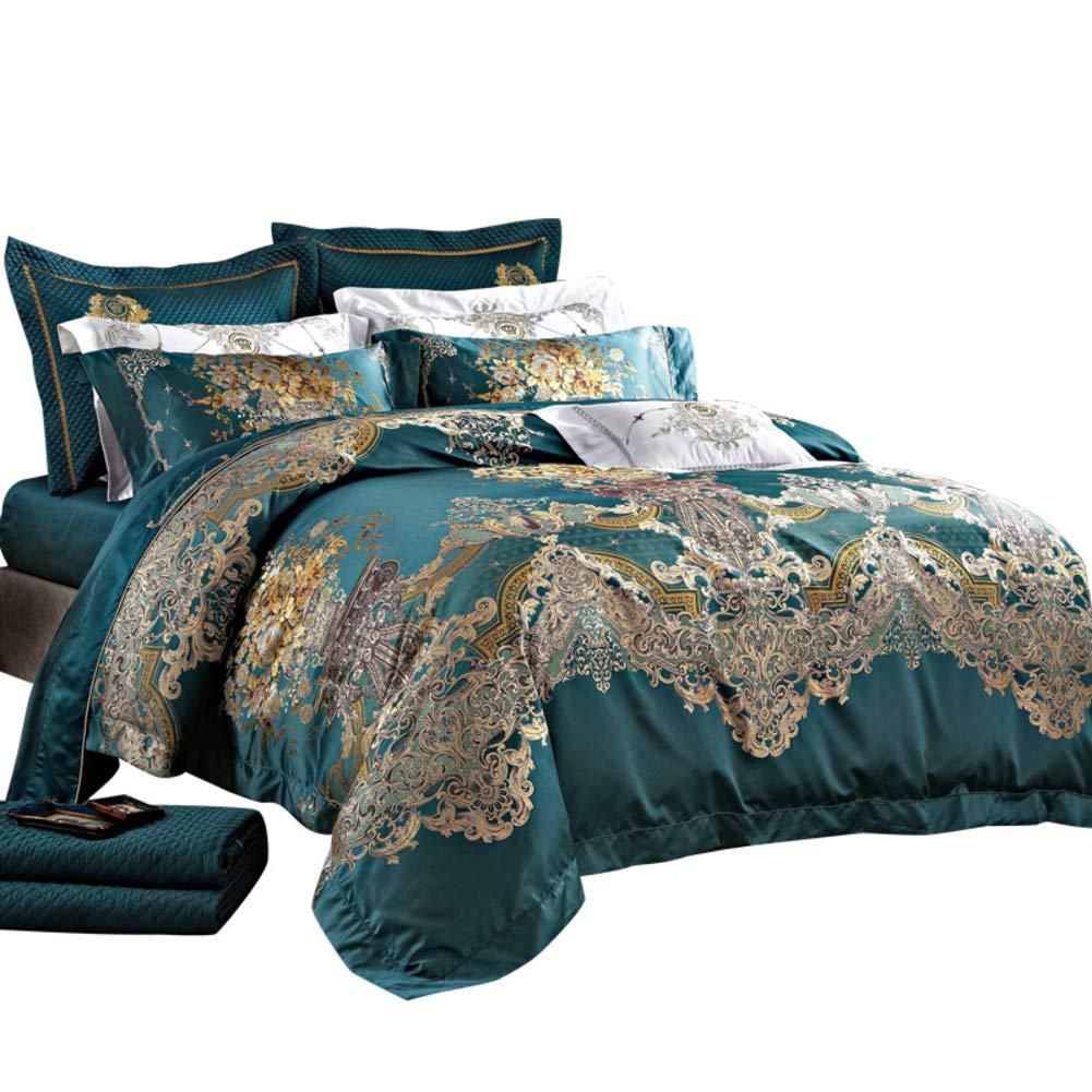 ホーム ファッション クイーンサイズ ベッド布団セット, 10 個セット 袋のベッド ジャカード ウルトラソフト ファイバー ベッド 掛け布団 シート 枕カバー-A B07NY12PWZ