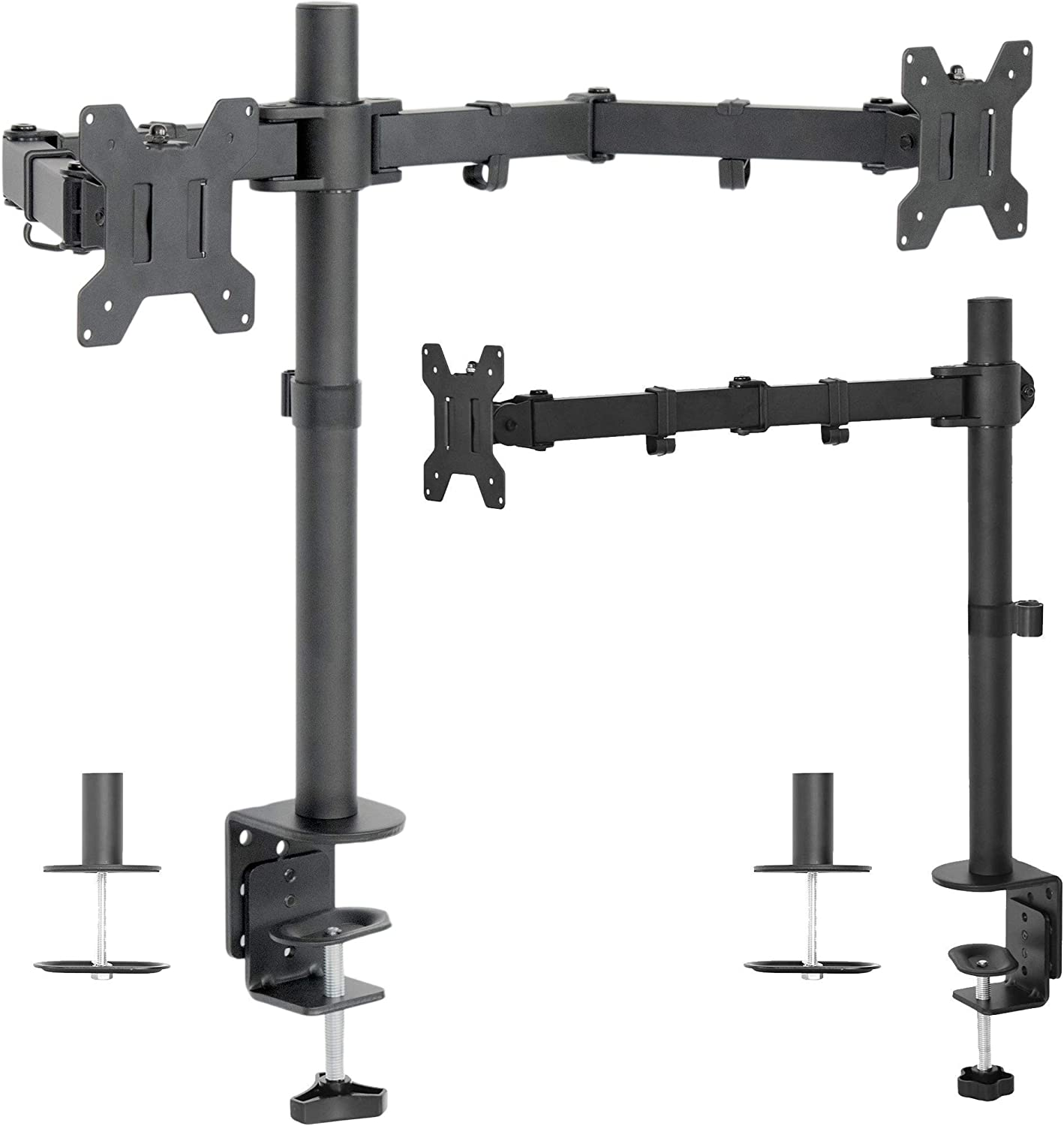 VIVO Single and Dual LCD Monitor Desk Mount Kit for Triple Screen Display, Heavy Duty Fully Adjustable, Fits 3 Screens up to 27 Inches (Bundle)