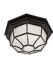"Trans Globe Lighting 40582 RT 5"" 1-Light Large Outdoor Flush Mount, Rust"