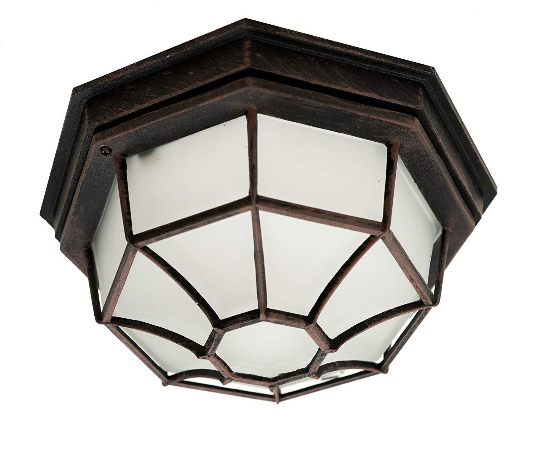 Trans Globe Lighting 40582 RT Outdoor Benkert 5'' Flushmount Lantern, Rust, 5-Inch, by Trans Globe Lighting