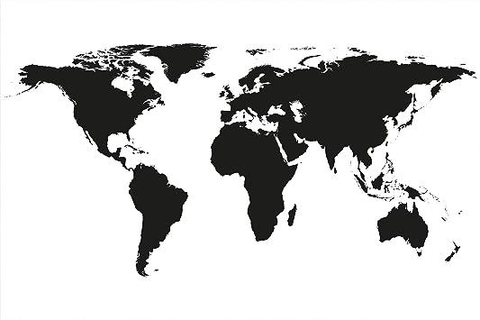 GREAT ART XXL Póster – Mapa Mundial en Blanco y Negro – Mural Decoración Mapa Continentes Mapa del Mundo Globo Tierra Geografía Mundial Cartel De La Foto Y Decoración (140 x 100