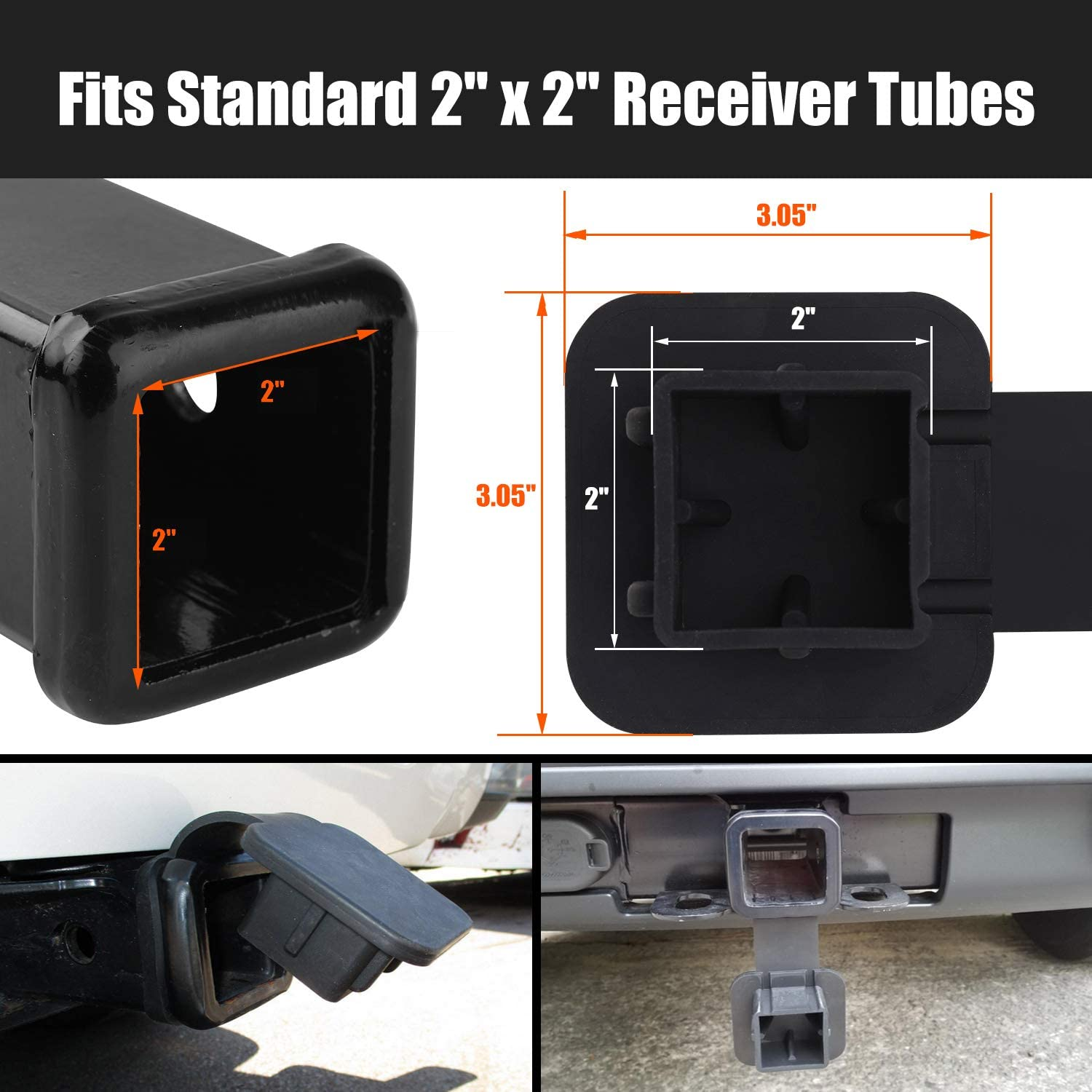 Receiver Tube Cover 2 Inch Black Receiver Hitch Cover for Toyota Mercedes Mopar Audi F150 Ford GMC Truck Chevy Jeep Lexus 4runner Porsche CZC AUTO 2 Inch Trailer Hitch Cover Plug Cap Insert
