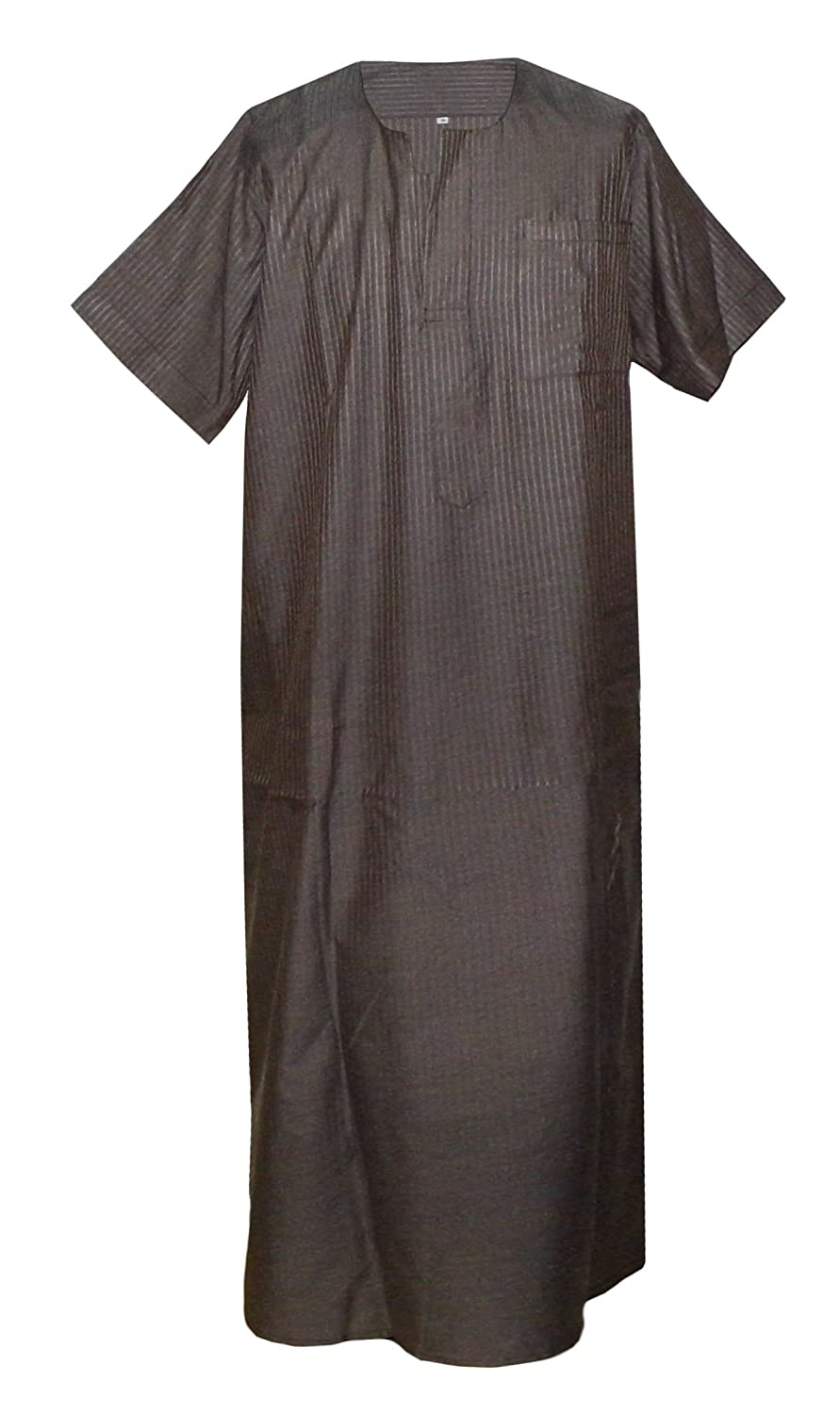 Men Nightgown Long Kaftan Ethnic Egyptian Striped Thobe Arabic Dress