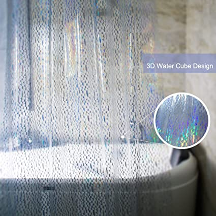Eforcurtain Small Wide 54quotx72quot Inch 3D Semi Transparent Shower Curtain Liner With