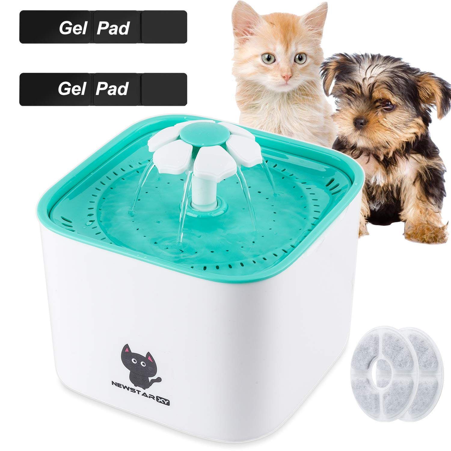 Newstarxy Cat Water Fountain, Automatic Electric Pet Dog Water Dispenser with Super Quiet Pump, Filters & Sticky Gel Pads | 2L, Green